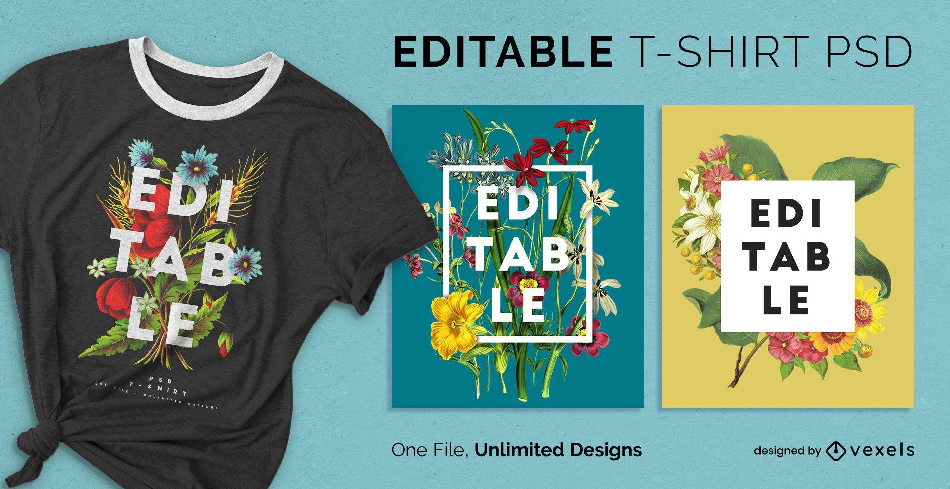 Camiseta escalable flores naturaleza psd