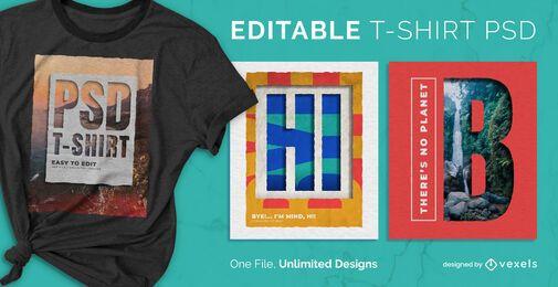 Cut Paper Querformat skalierbares T-Shirt PSD