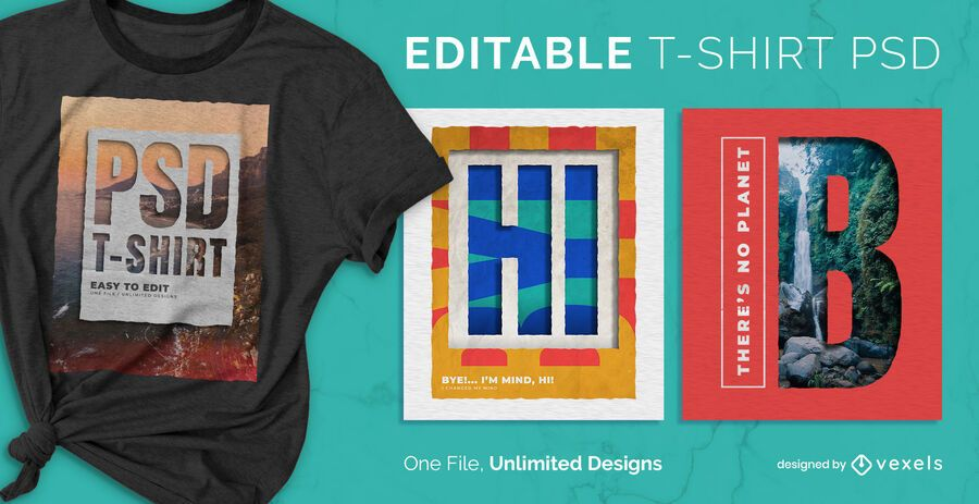 Cut paper landscape scalable t-shirt psd