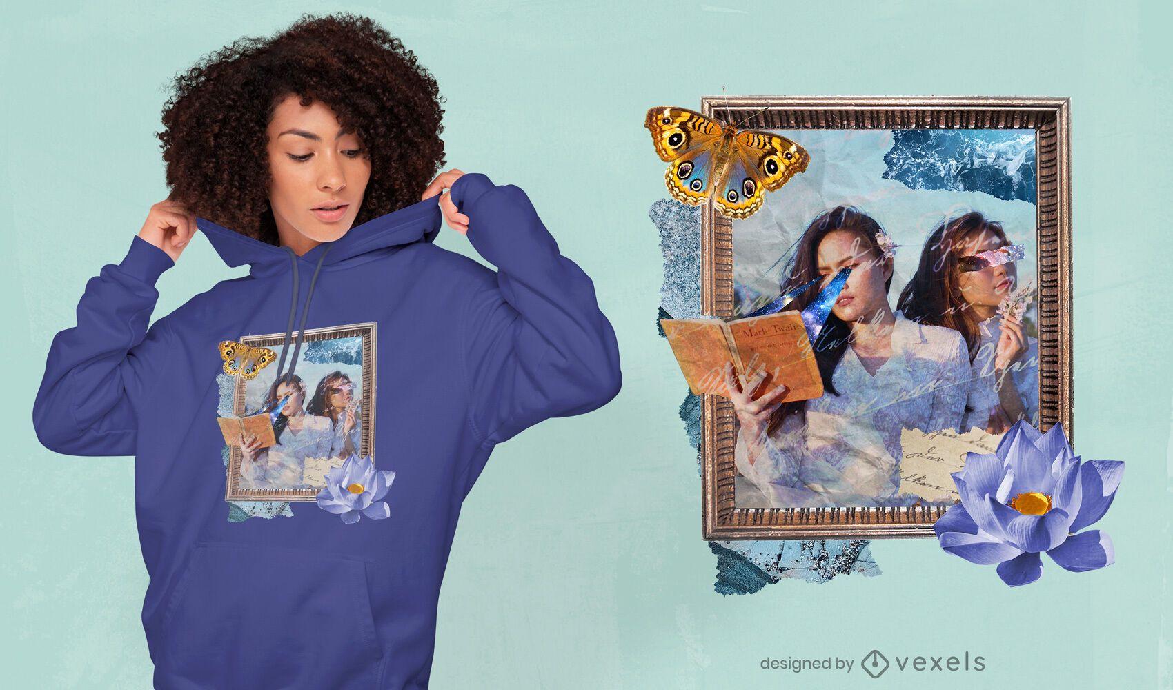 Framed collage psd t-shirt design