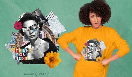 Retro woman photographic collage PSD t-shirt design