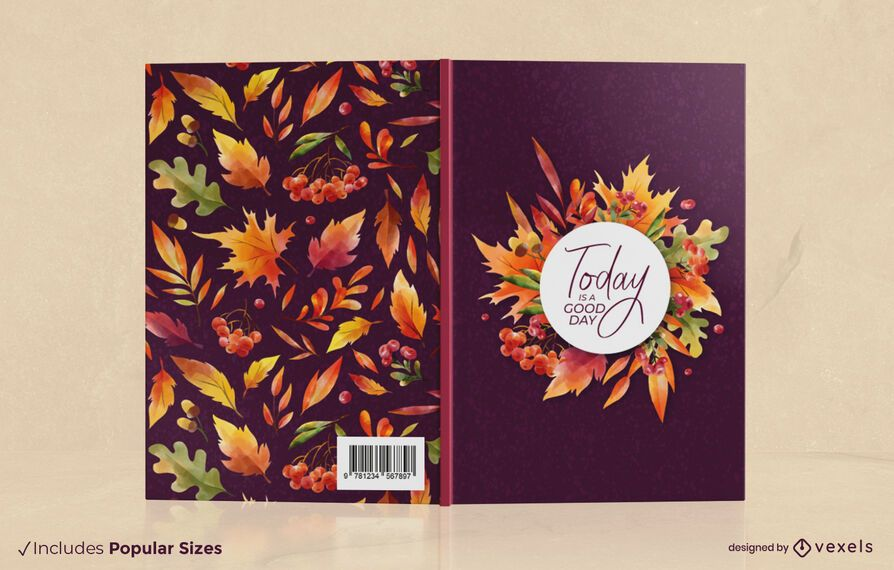 Autumn season leaves book cover design