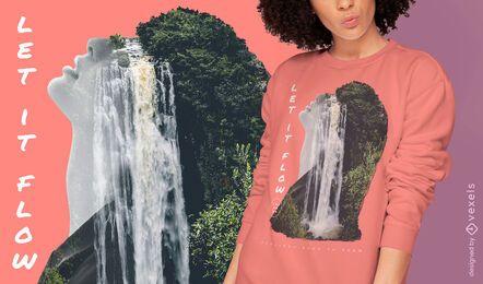 Waterfall double exposure PSD t-shirt design