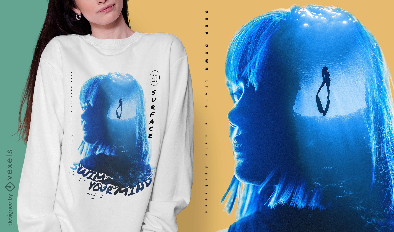 Diseño de camiseta fotográfica de mujer bajo el agua.