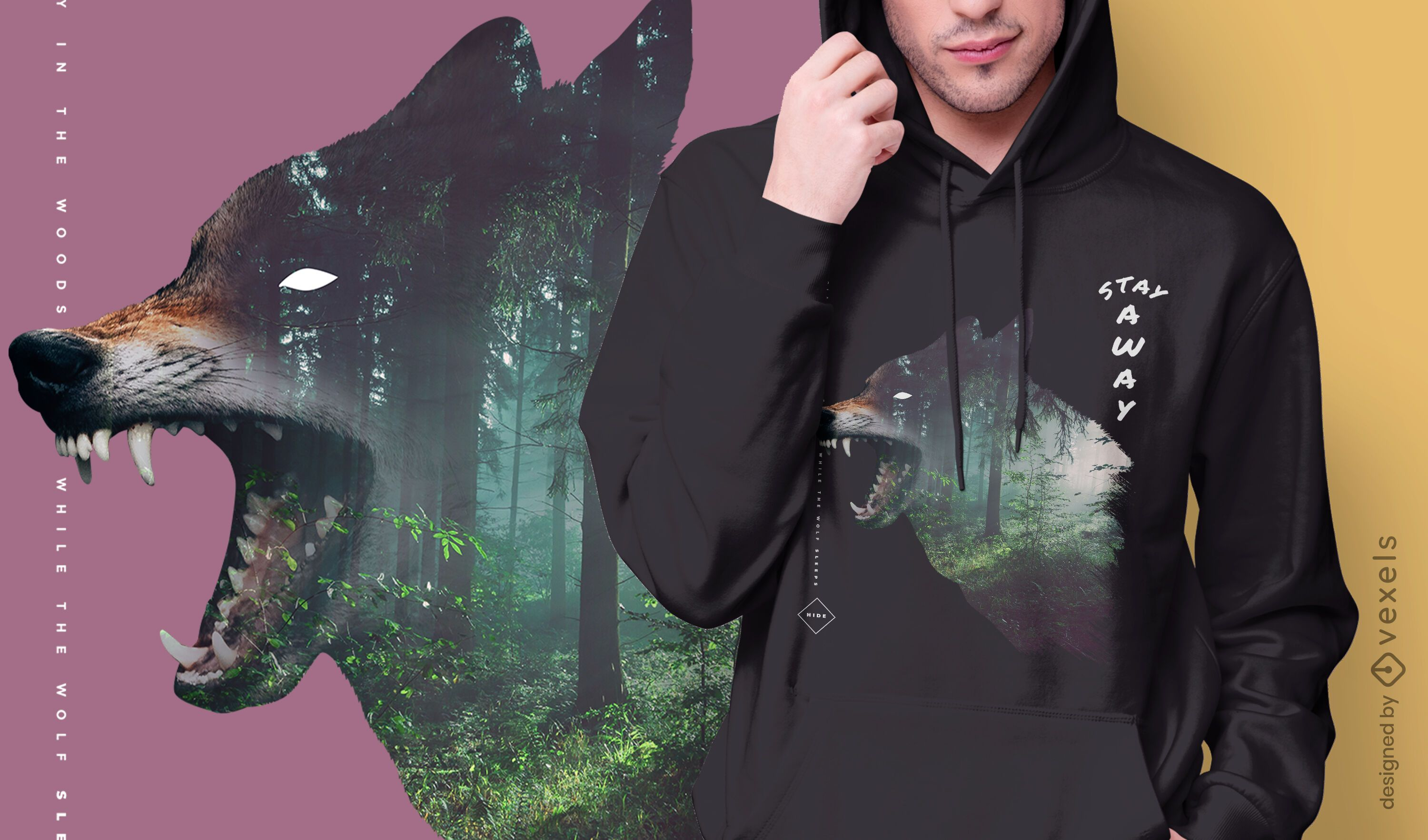 Wolf and forest double exposure t-shirt design