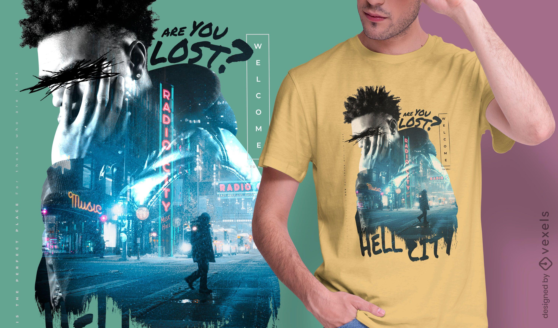 Man city double exposure PSD t-shirt design