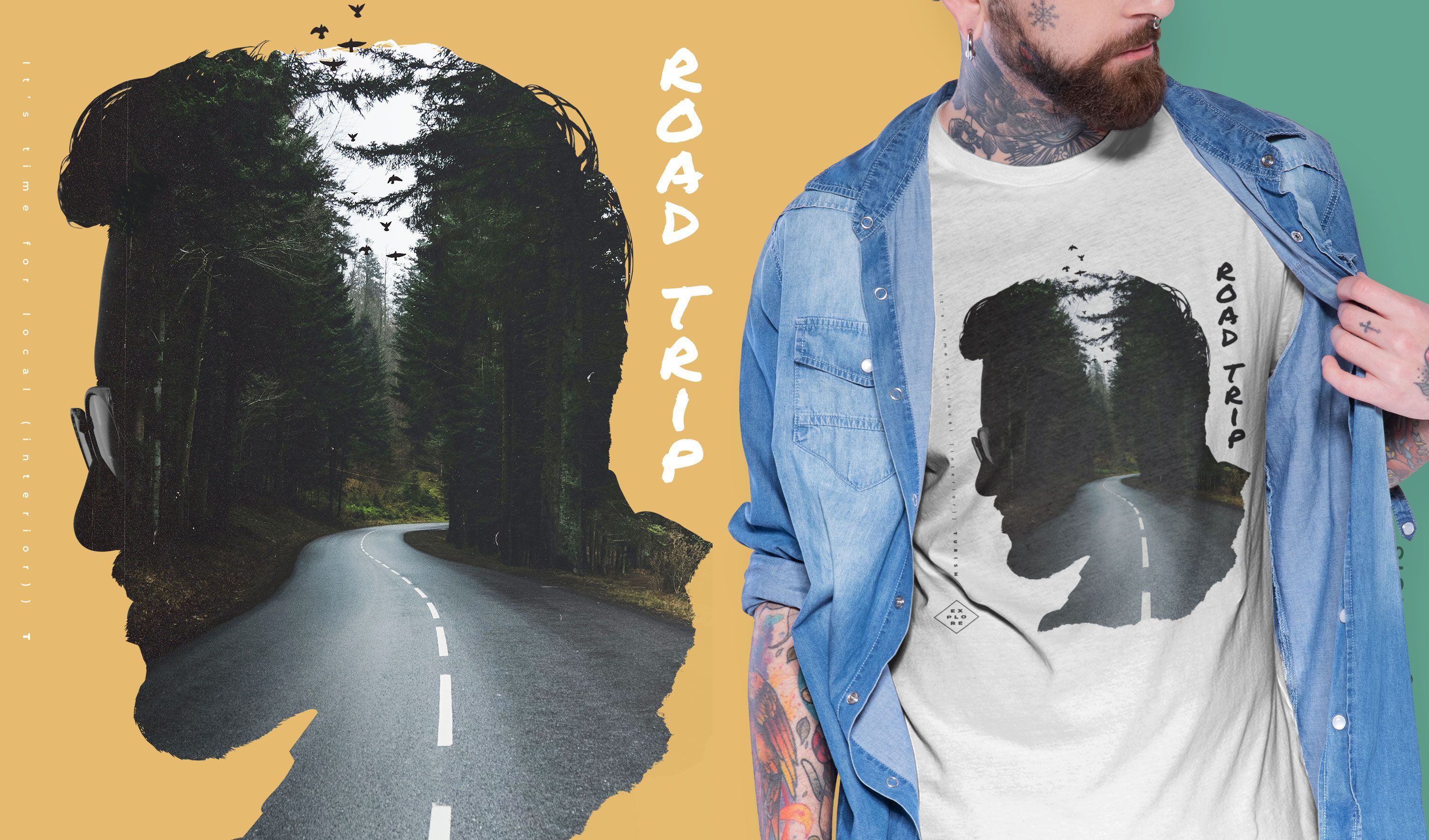 Man and road double exposure PSD t-shirt design