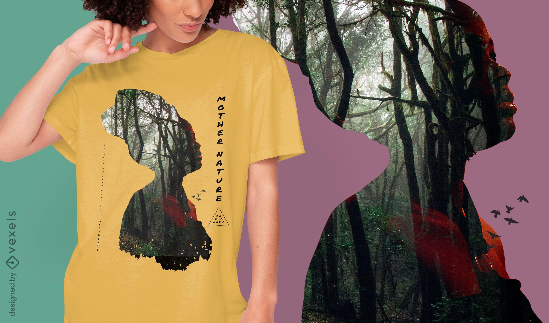Woman forest double exposure PSD T-shirt design