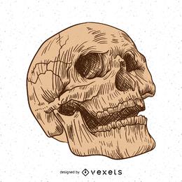 Mão artística desenhada crânio design