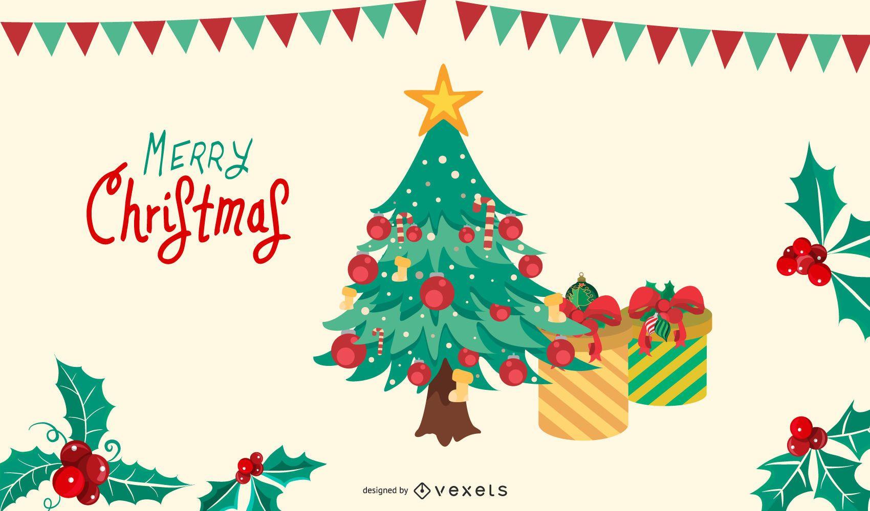 Merry Christmas Tree Vector Illustration