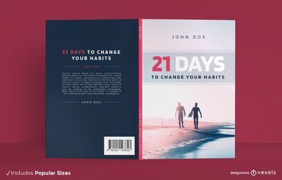 Diseño de portada de libro de playa de hábitos saludables.