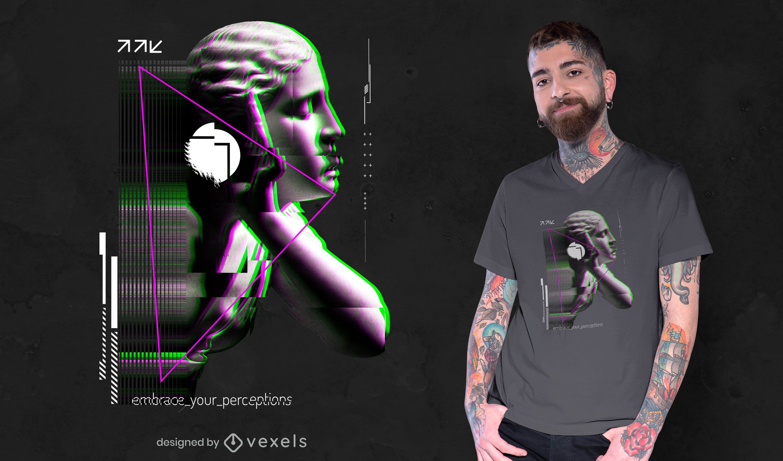Glitch sculpture PSD t-shirt design
