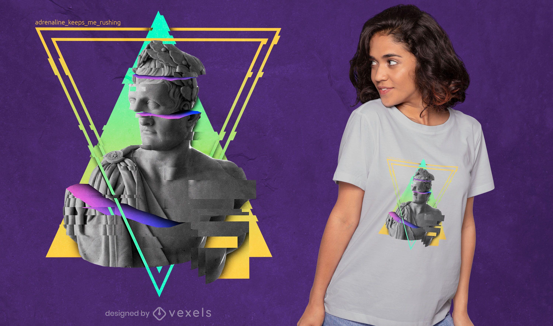 Colorful glitch statue PSD t-shirt design