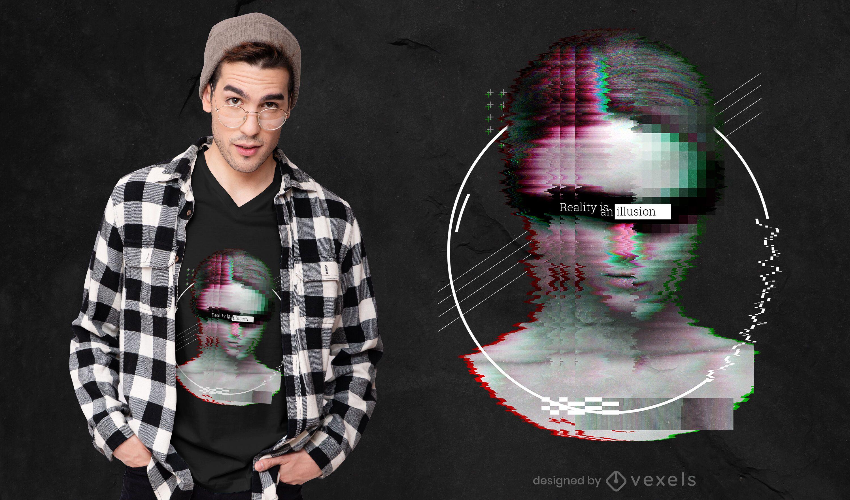 Glitch front face PSD T-shirt design