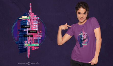Glitch quote and building PSD t-shirt design