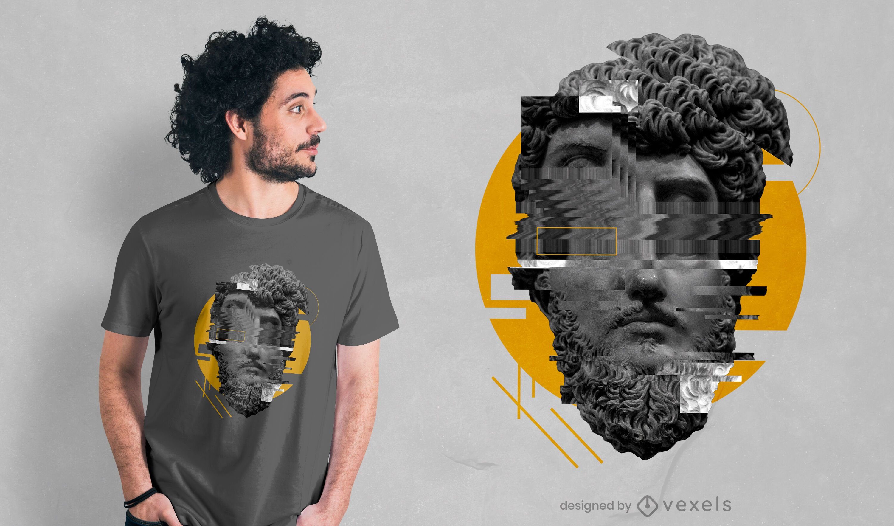 Frontal glitched statue PSD t-shirt design