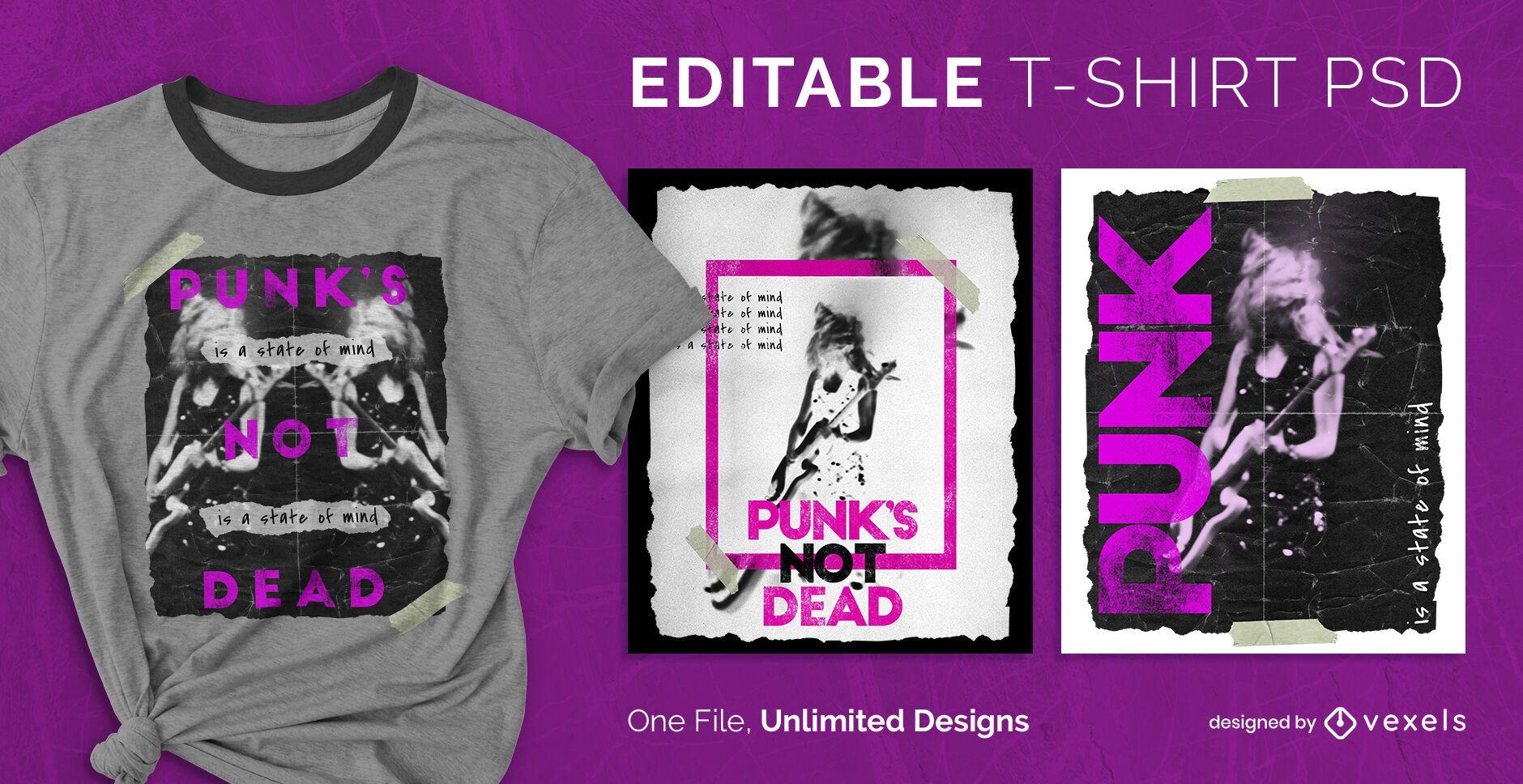 Punk rock photography scalable t-shirt psd