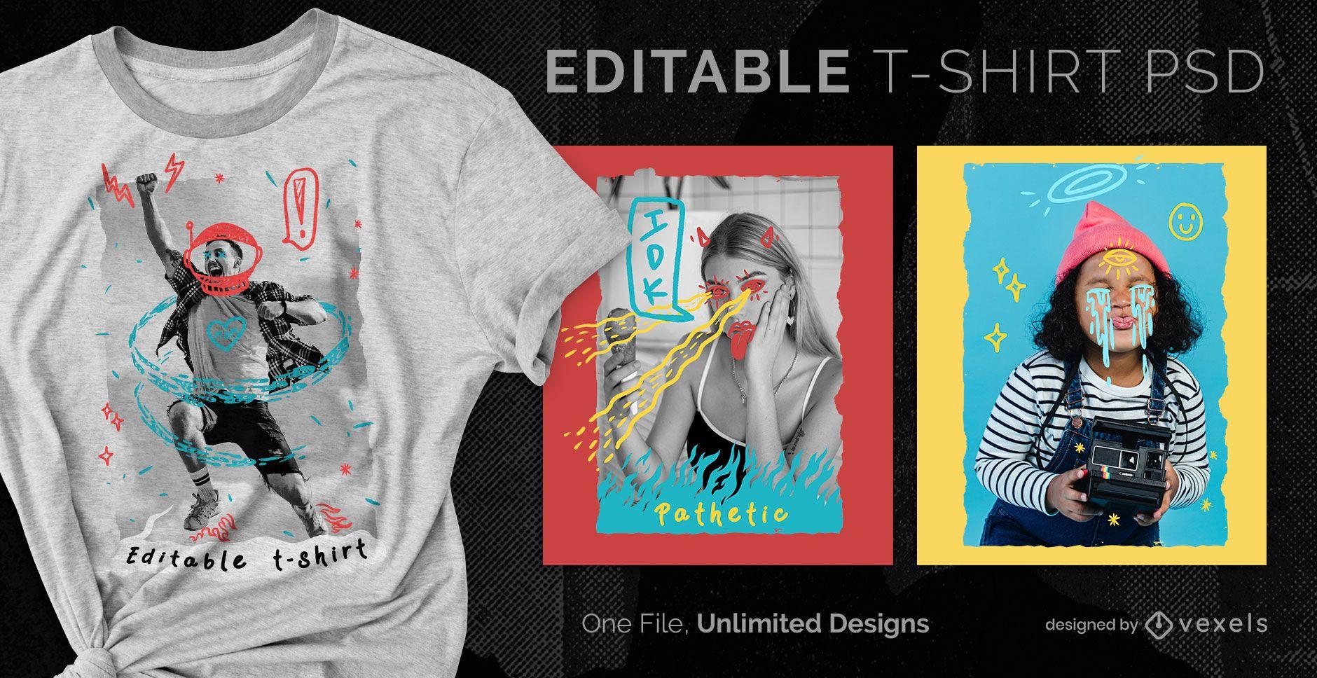 Photograpy doodle scalable t-shirt psd