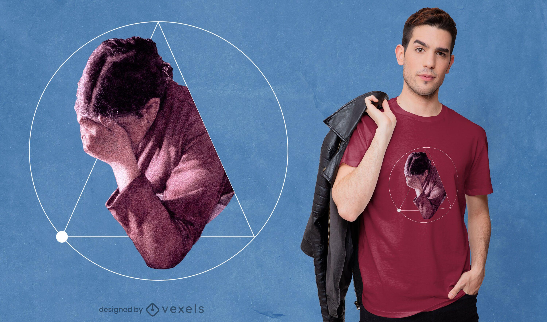 Geometric person cut PSD t-shirt design