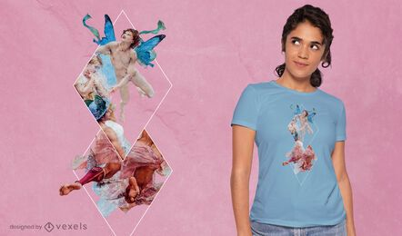 Geometric angels PSD t-shirt design