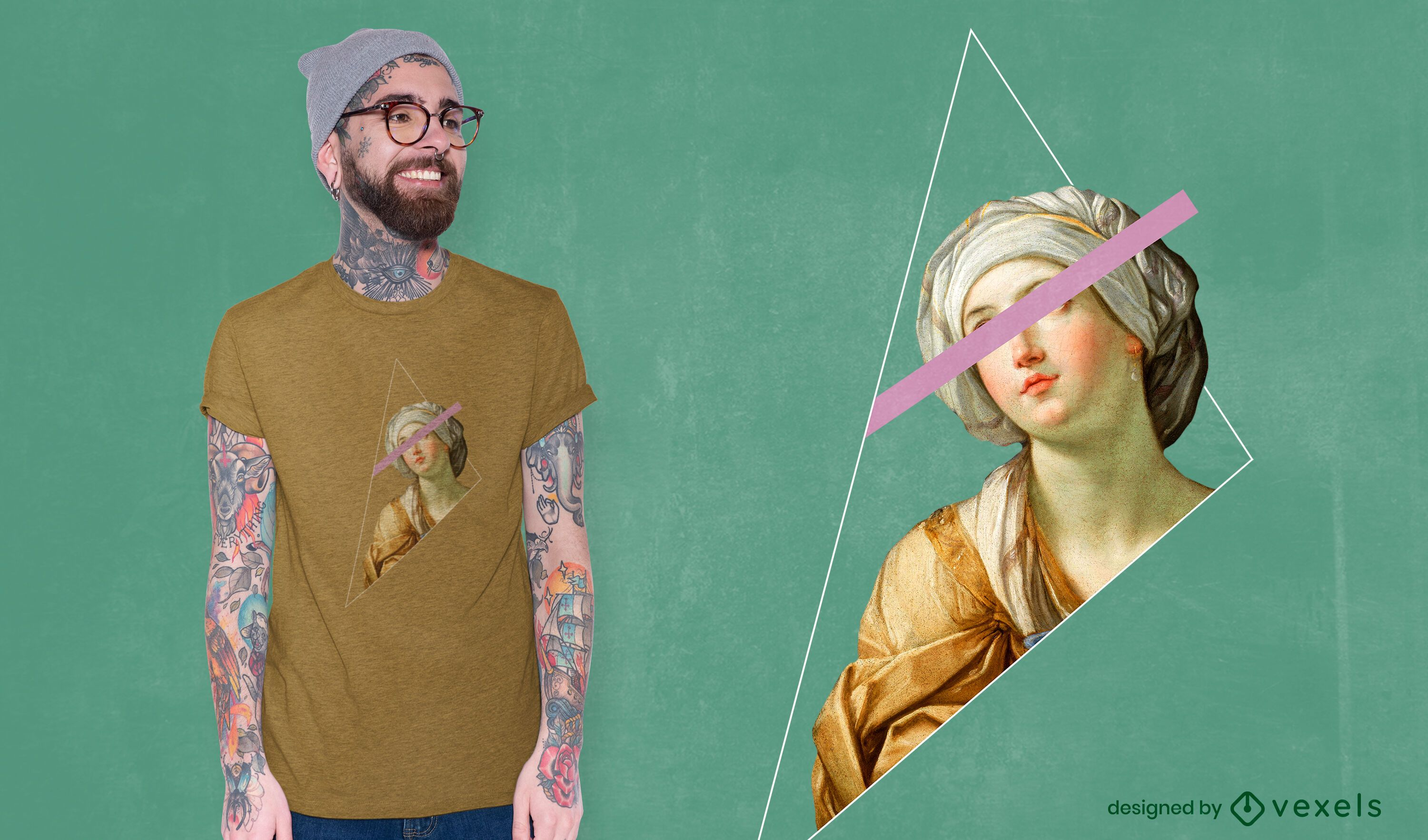 Realistic painting composition t-shirt psd