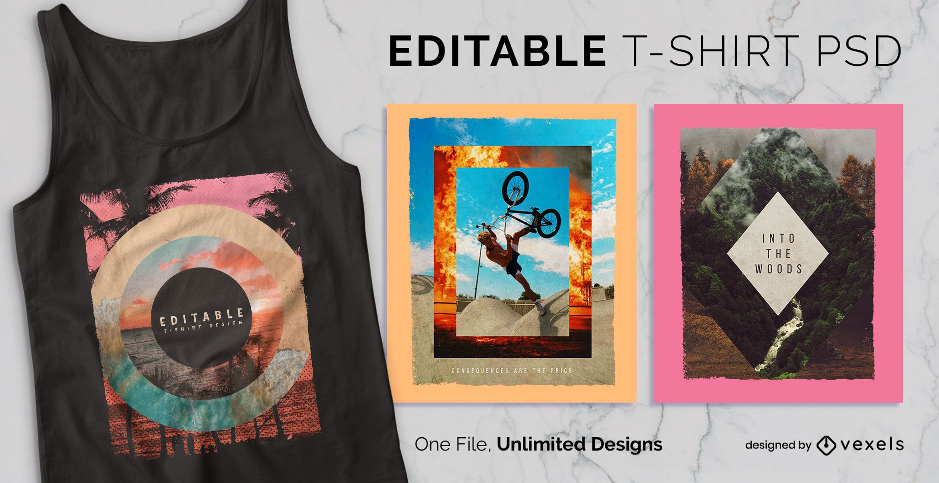 Geometric photography scalable t-shirt psd