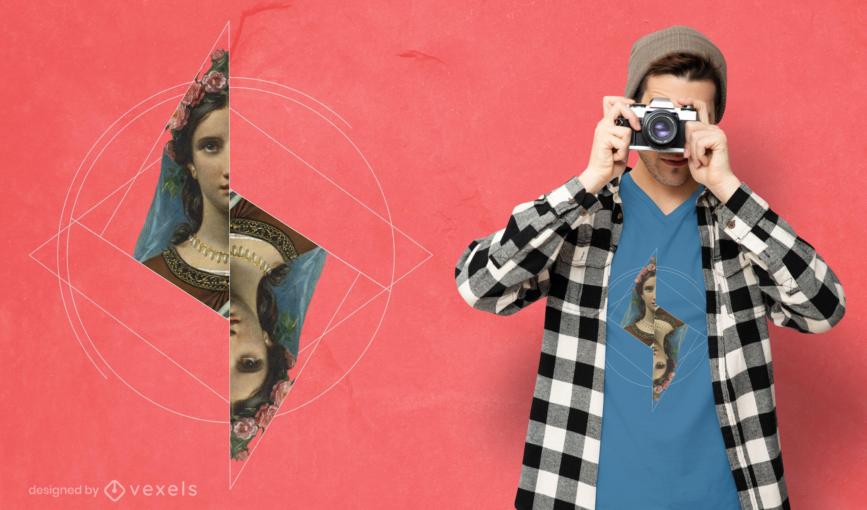 Realistic painting geometric shapes t-shirt psd