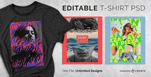 Ripped photographs scalable t-shirt psd