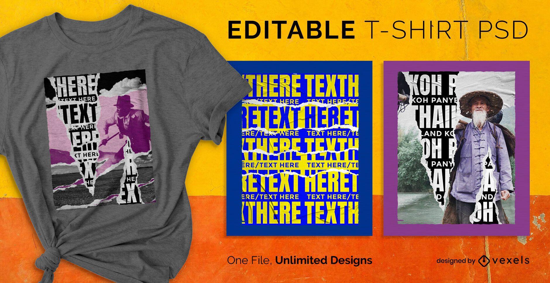 Pôster de rua rasgado em t-shirt escalável psd