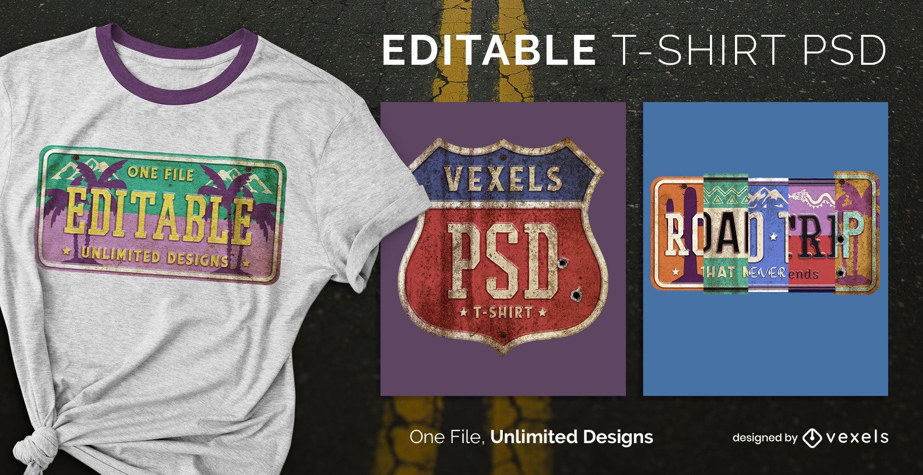 Autokennzeichen Vintage skalierbares T-Shirt PSD