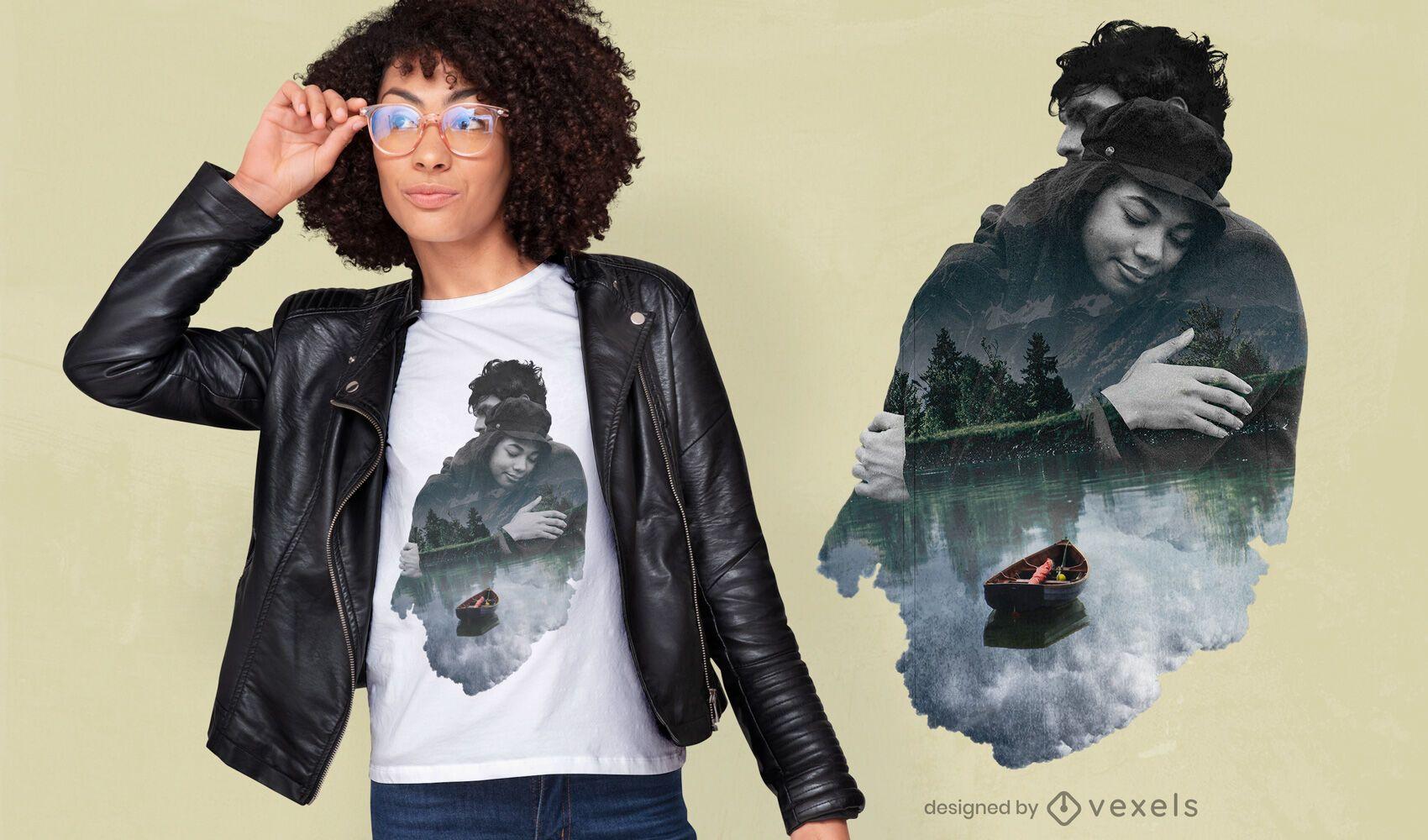 Pareja abrazándose diseño de camiseta PSD de doble exposición.
