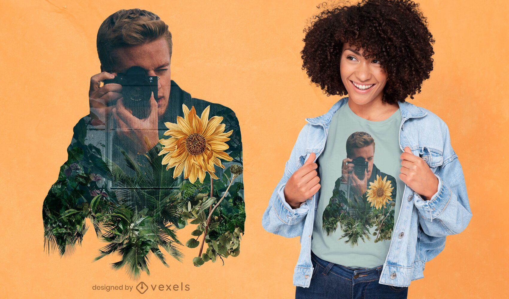 Desenho de t-shirt de dupla exposição para fotógrafo e flor