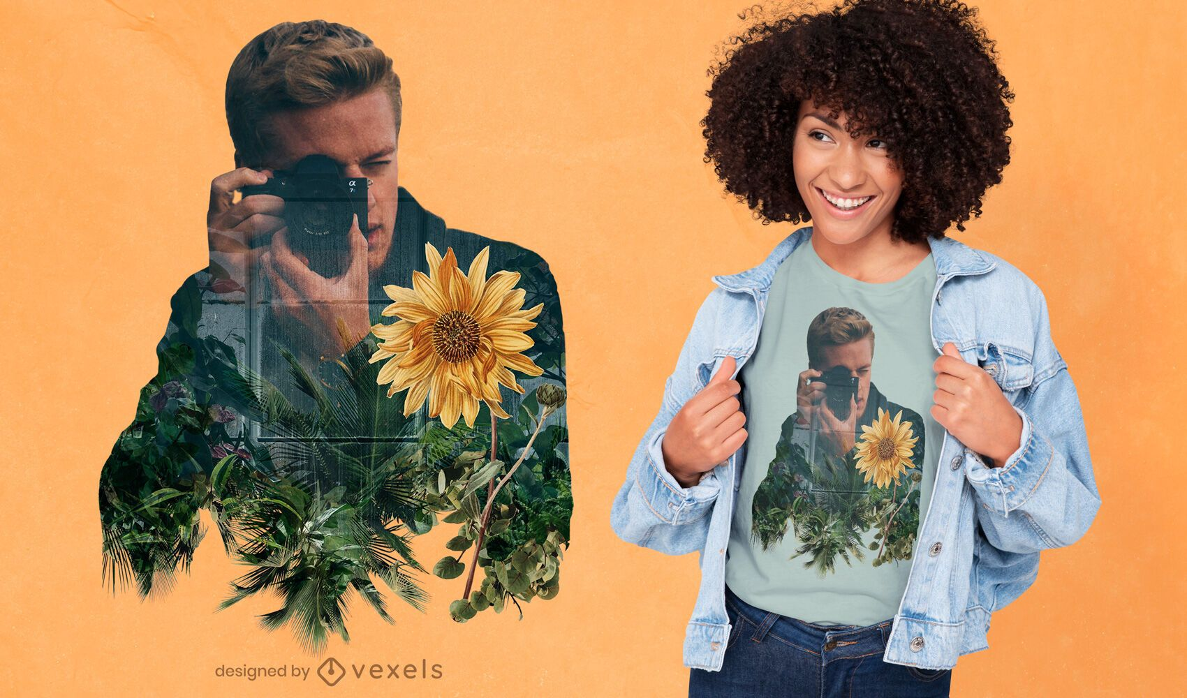 Fotograf und Blumen-Doppelbelichtungs-T-Shirt-Design