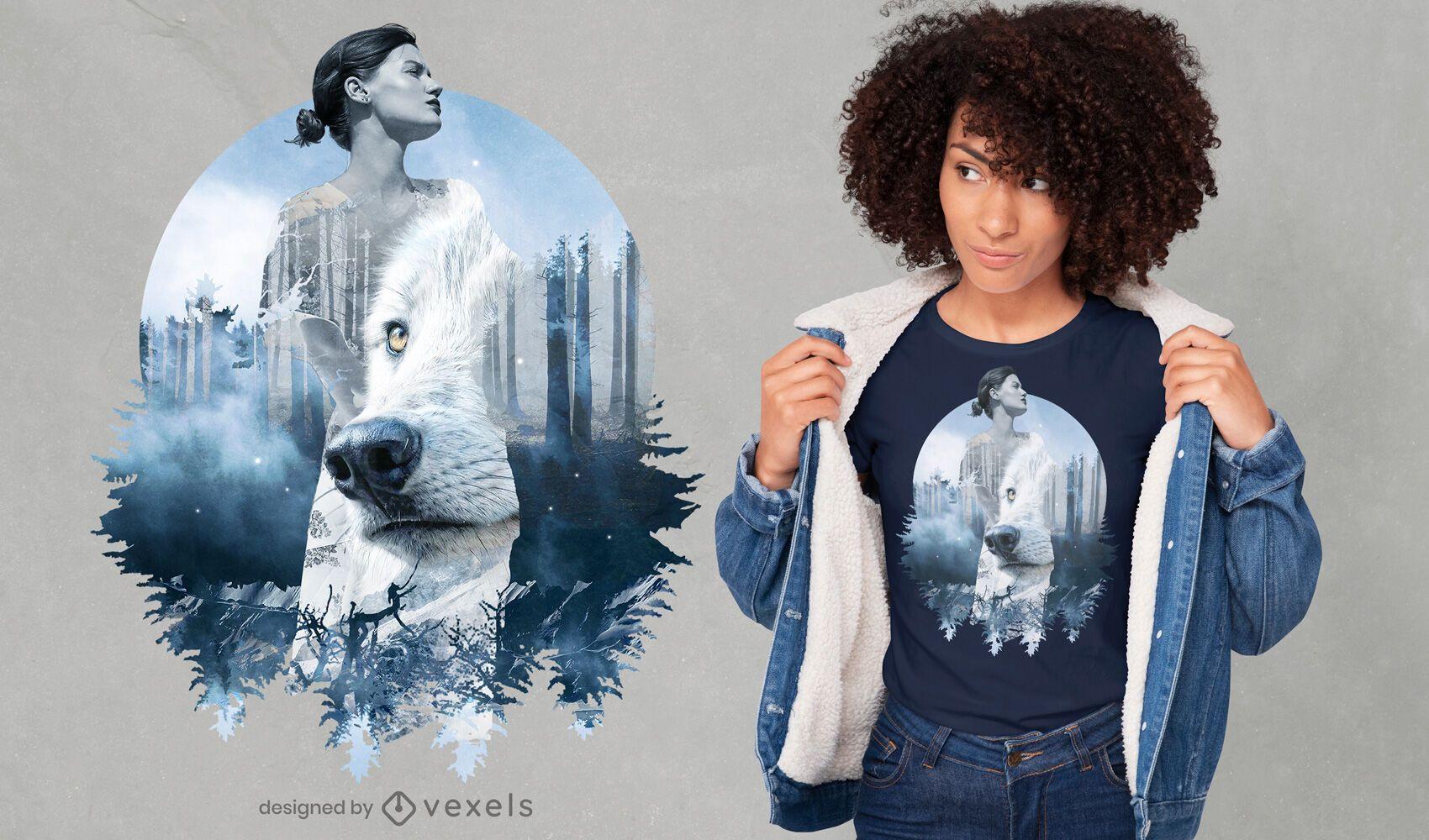 Diseño de camiseta PSD de doble exposición de niña y lobo.