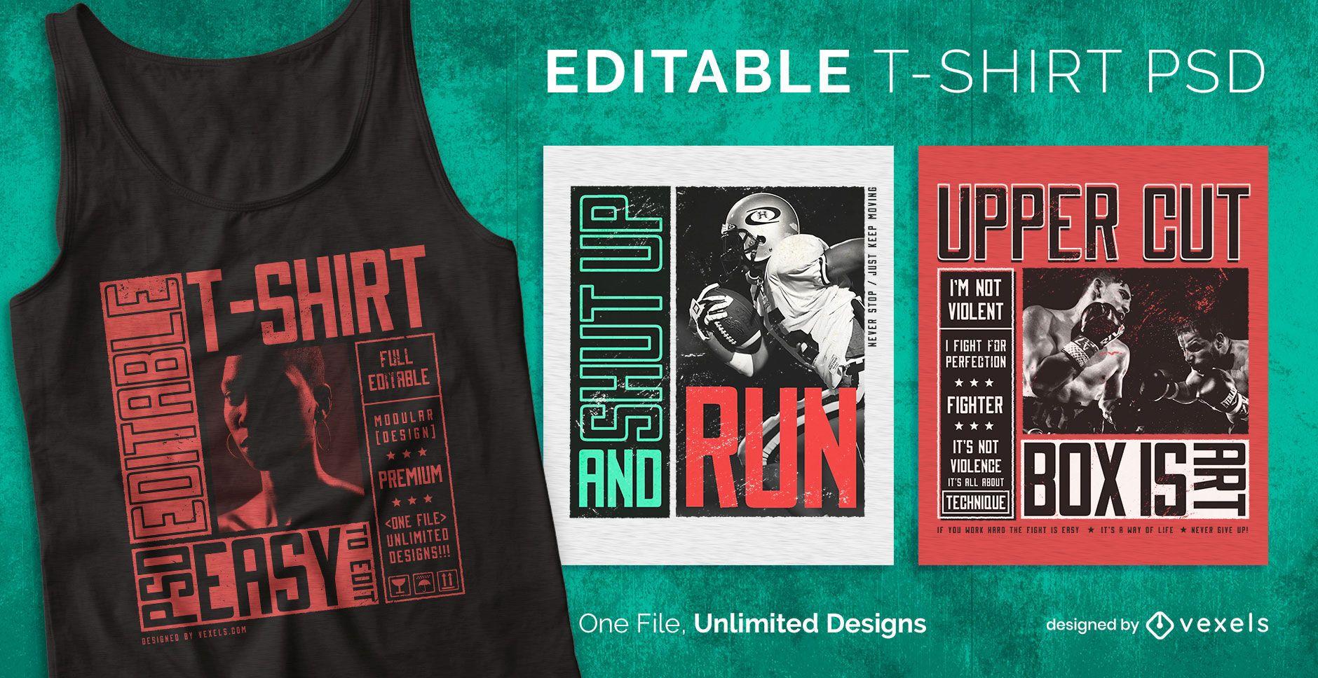 Diseño de camiseta editable estilo cartel cuadrado.