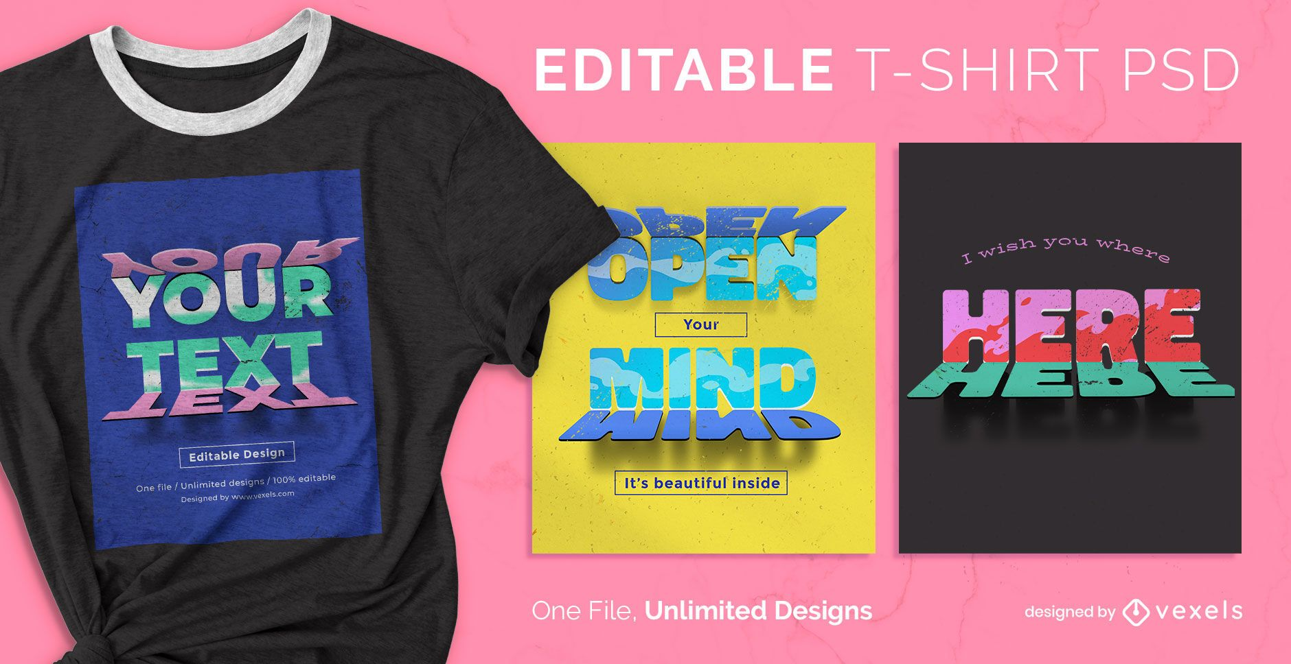 Mirrored text effect scalable t-shirt psd