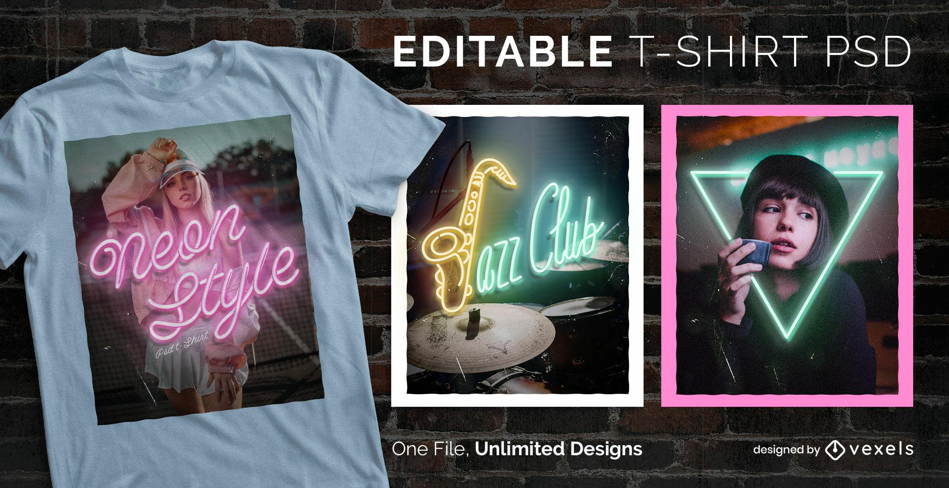 Fotografisches skalierbares T-Shirt im Neon-Stil psd