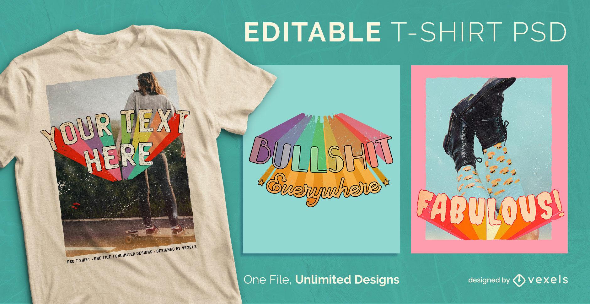 Camiseta escalable con fotografías retro hippie psd