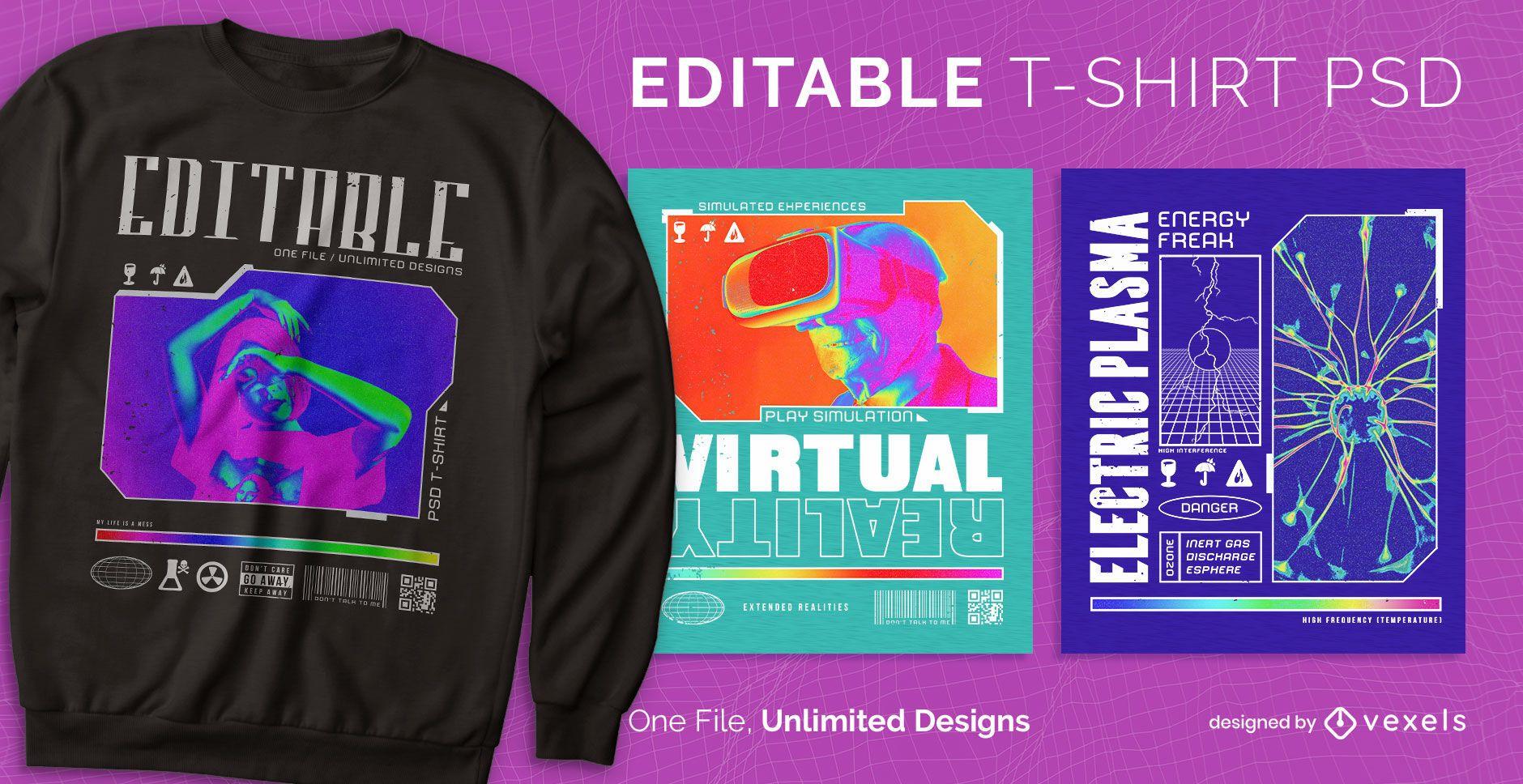 Diseño de camiseta escalable con gráficos trippy.