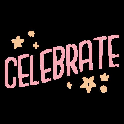 Celebrate badge lettering
