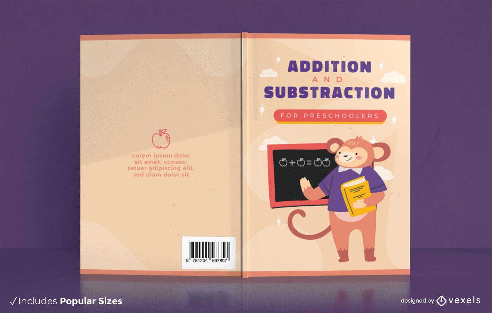 Diseño de portada de educación preescolar de libro de matemáticas