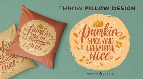 Autumn season lettering throw pillow design