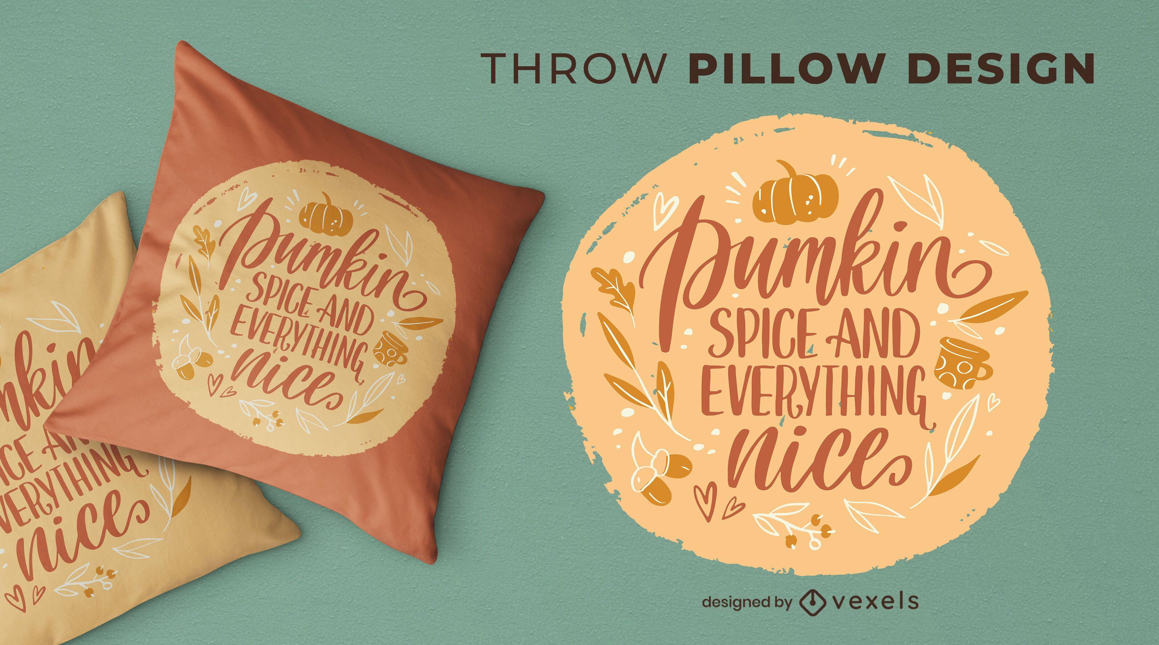 Design de almofada com letras para a temporada de outono
