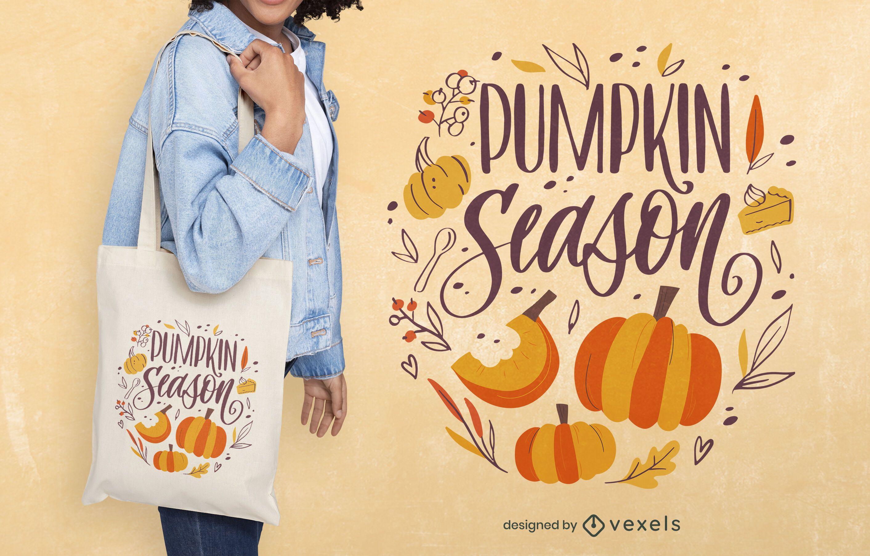 Design de sacola de citações da temporada de abóbora outono
