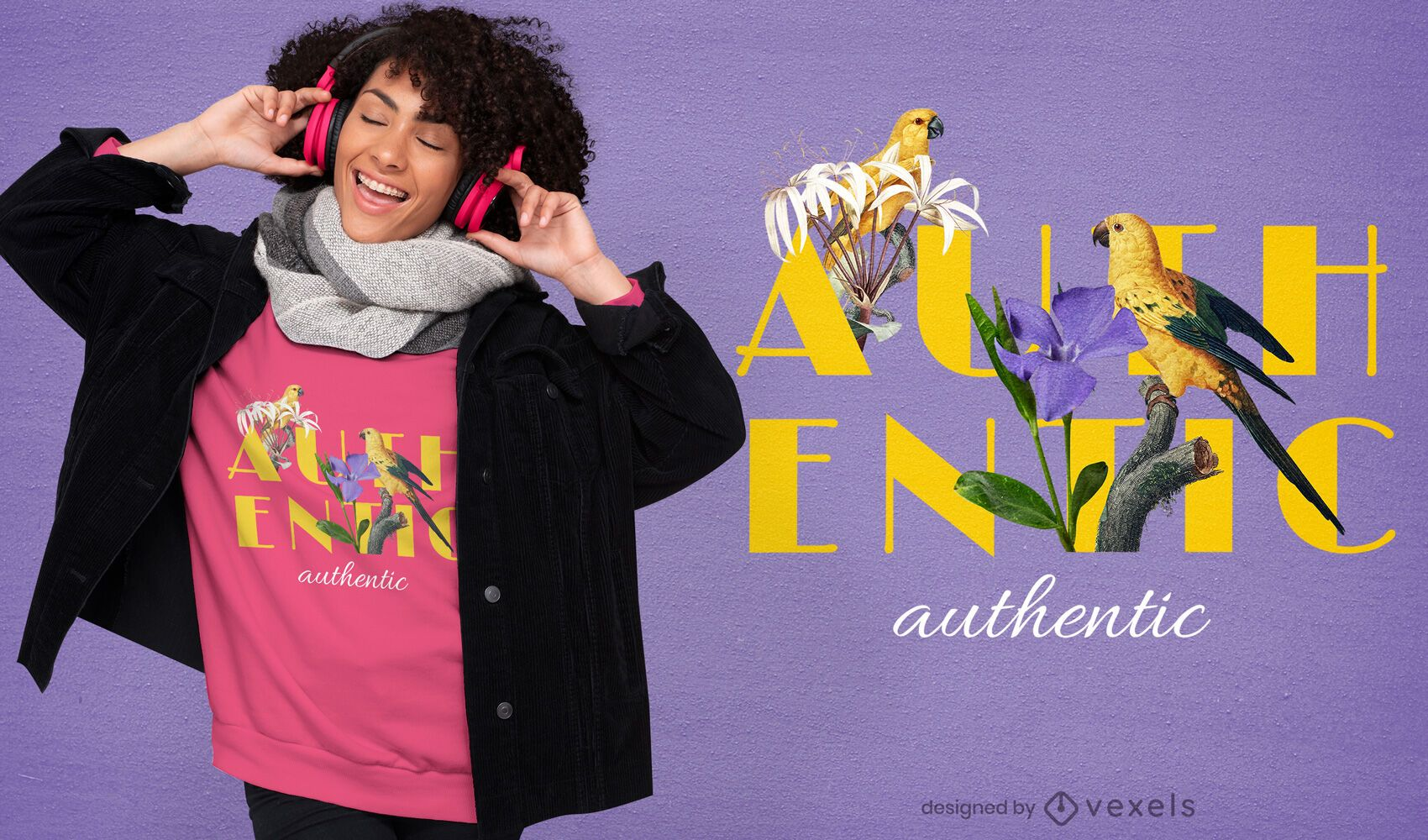 Birds and flowers authentic PSD t-shirt design