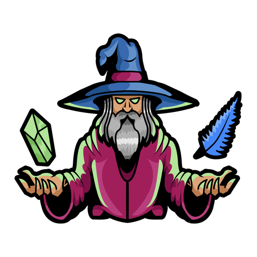 Wizard levitating crystal and feather color stroke