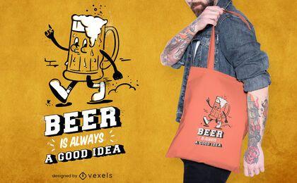 Diseño de bolsa de asas de dibujos animados de cerveza caminando