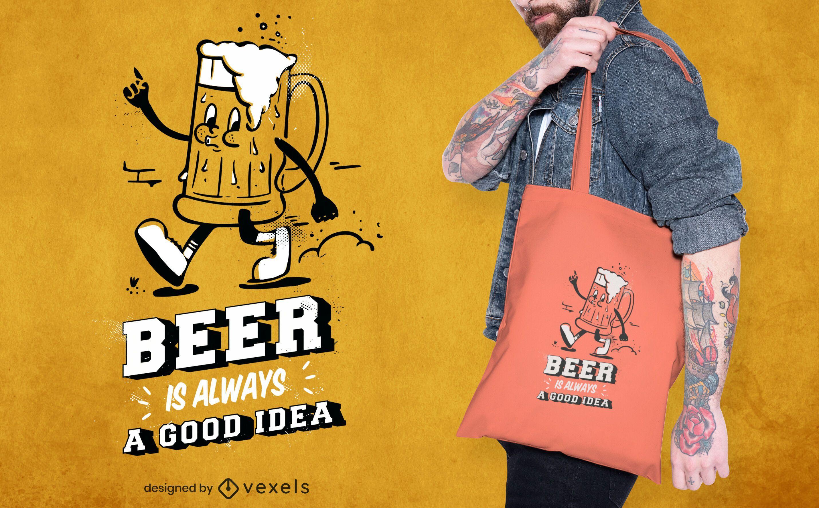 Gehendes Bierkarikatur-Einkaufstaschendesign