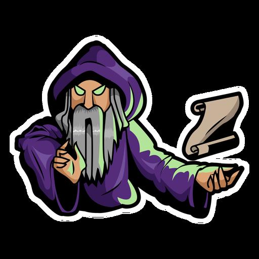 Purple wizard with a parchment color stroke