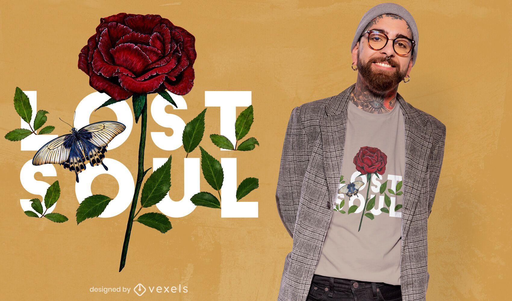 Floral lost soul psd t-shirt design
